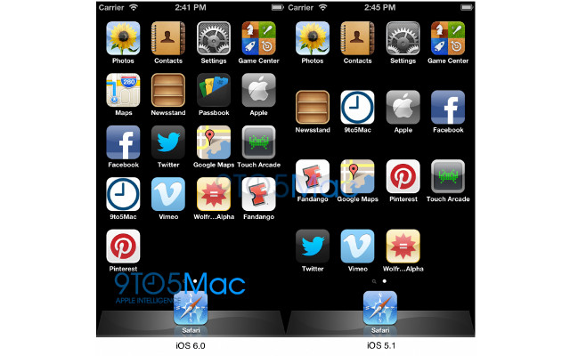 iOS 6 images, iOS 6 icon grid, iPhone 5 home screen
